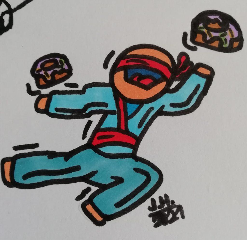 Ninja mit Donuts